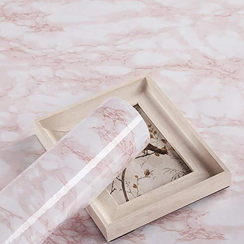 Papel Adhesivo para Muebles Rosado Marmol 45cmX3m Impermeable Vinilo Pegatina Muebles Papel Pintado PVC Protege o Decora Cocina Armario Baño Pared de TV Escritorio Tocador