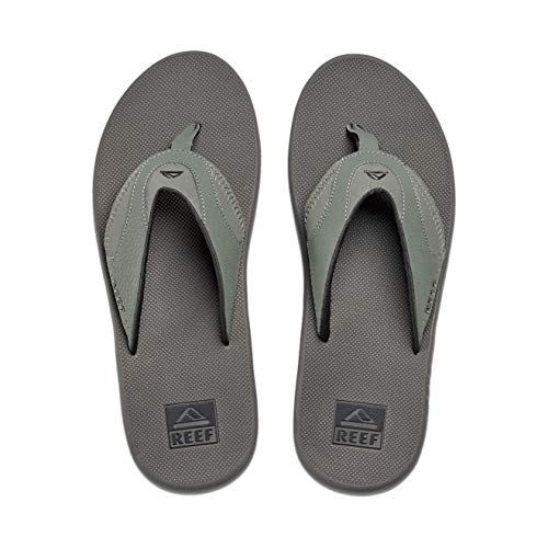 Reef Men's Sandals Fanning | Bottle Opener Flip Flops for Men with Arch Support | Grey/Black | Size 9