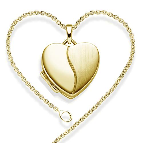Foto Medaillon Herz Gold hochwertig vergoldet Herzkette Herz Anhänger zum Öffnen mit Kette inkl. GRATIS Etui + - Herz Amulett Herzmedaillon Fotos Bild Bilder FF99 VGGG45