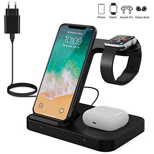 POWERGIANT 3 in 1 Wireless Charger, Qi 15W Kabelloses Ladegerät Schnellladestation Kompatibel mit iWatch 5/4/3/2/1, Galaxy Buds, iPhone 11/11 Pro Max/XS/XR/X/8, Samsung Huawei (Mit QC3.0 Adapter)
