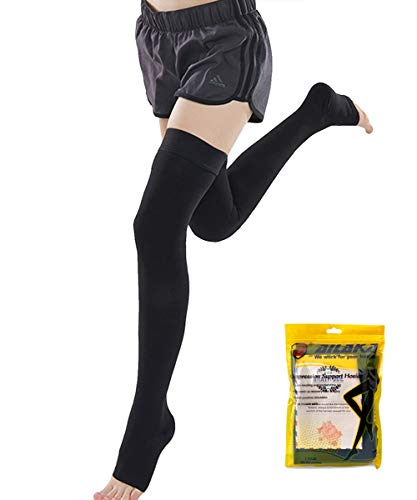 Ailaka Opened Toe Thigh High 20-30 mmHg Compression Stockings for Women and Men, Firm Support Graduated Varicose Veins Socks, Travel, Casual-Formal Hosiery