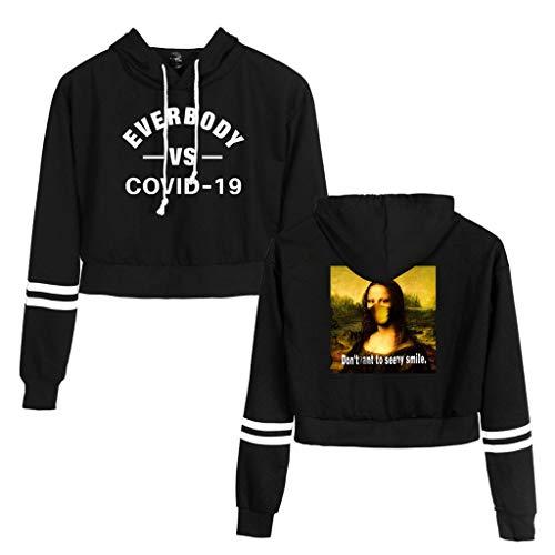 Rugby clothing boutique Q De Las Mujeres COVID-19 Pullover, de Impresa Ocasional Chica Expuesto Ombligo de Manga Larga con Capucha (Color : Black, Size : L)