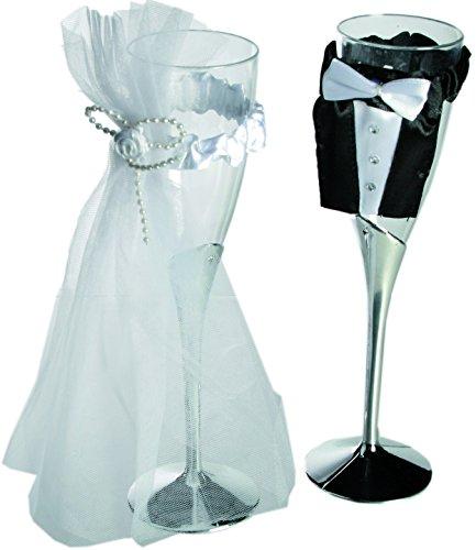 zampeda1 Couple-Plastique-champagnerglas à Tulle &mariée Mariage-Lot de 2