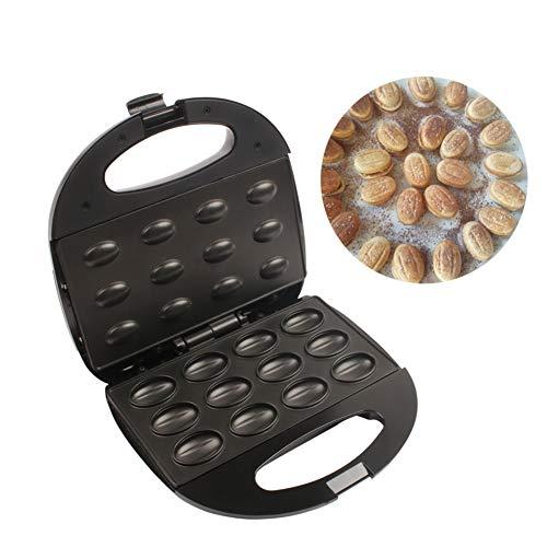 CCHM Elektro-Kuchen-Hersteller Automatischer Mini Nuss Waffle Brot-Maschine Sandwich Eisen Toaster Backen Frühstück Pan Ofen,Schwarz