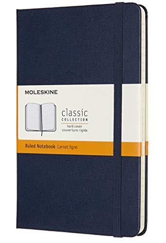 Moleskine - Cuaderno Clásico con Hojas Rayadas, Tapa Dura y Cierre Elástico, Color Azul Zafiro, Tamaño Medio 11.5 x 18 cm, 208 Hojas