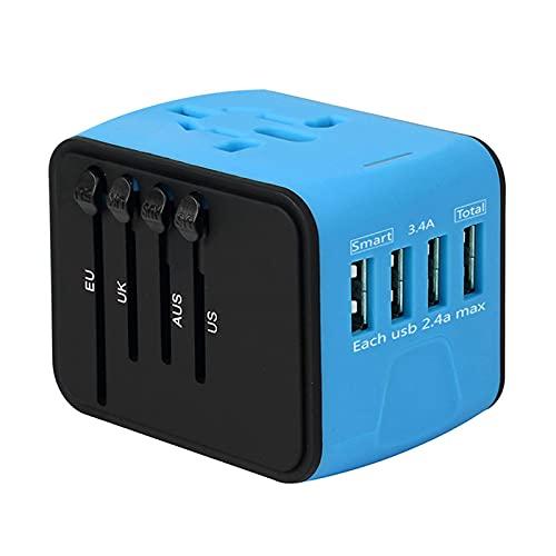 QXQX Go Abroad - Adaptador de viaje multiusos con 4 puertos USB, enchufes de intercambio, accesorios de viaje