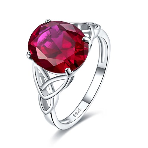 Merthus 925 Sterling Silver Created Ruby Trinity Knot Celtic Ring for Women