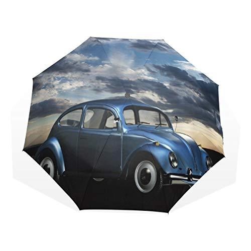 LASINSU Regenschirm,Jeep Retro Vintage Car unter bewölktem Himmel,Faltbar Kompakt Sonnenschirm UV Schutz Winddicht Regenschirm