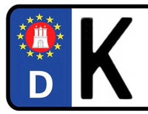 2x Kennzeichen Aufkleber HAMBURG Nummernschild Sticker (ca.2 cm)