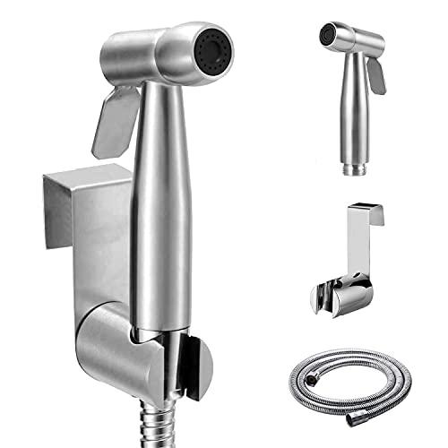 Pulverizador de bidé de mano, Juego de alcachofa de ducha de mano de acero inoxidable para WC, con Soporte Ducha y Manguera Ducha 1.5m