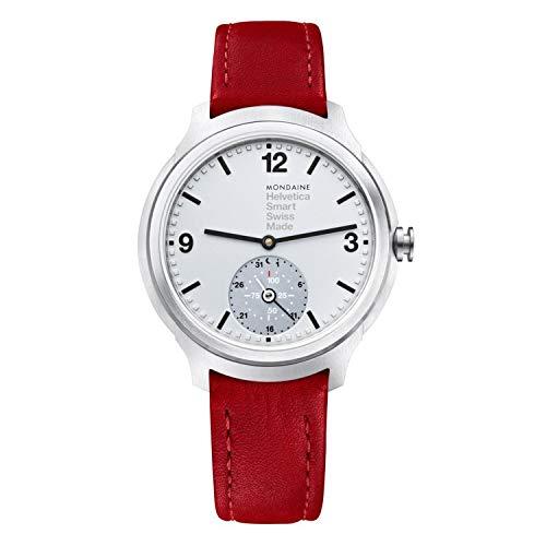 Mondaine Helvetica Smartwatch - Orologio con Cinturino Rosso in Pelle per Uomo e Donna, MH1.B2S80.LC, 44 MM.