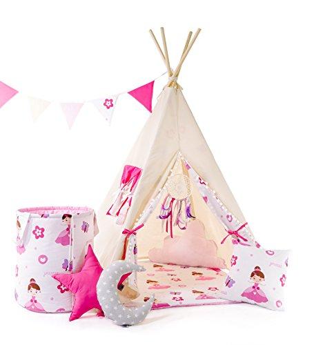 Indianerzelt Tipi Set für Kinder Spielzeug drinnen draußen Spielzelt Zelt mit Korb Tipi-Set Indianer Indianertipi (Tipi mit 8 Elementen, Weiss - die hübsche Prinzessin)