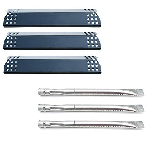 Direct Store Parts Kit DG255 Replacement for Sunbeam,Nexgrill,Grill Master 720-0737 720-0697 Gas Grill Repair Kit (3-Pack) Stainless Steel Burners & Porcelain Steel Heat Plates