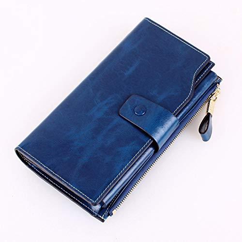 """""""N/A"""" Carteira feminina de couro bovino New Oil Wax longa feminina grande clipe para notas masculina azul pavão"""