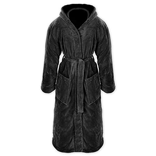 Gräfenstayn® Damen & Herren Kuschelfleece Bademantel mit Kapuze Größe S-XXXL Öko-Tex Standard 100 Flanell Fleece (XL, Schwarz)