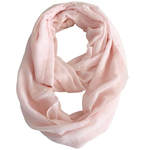 Fashion Lightweight Solid Infinity Lady Scarf Circle Loop Scarves For Women(pink)