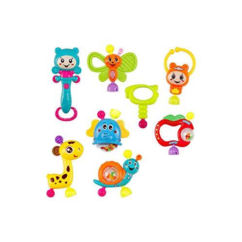 8Pcs Nette Baby-Rasseln Beißring Shaker Set Grab and Spin Rattle Musical Spielzeug-Set Frühe Lernspielzeug für Baby-Kind Neugeborenes Style-C