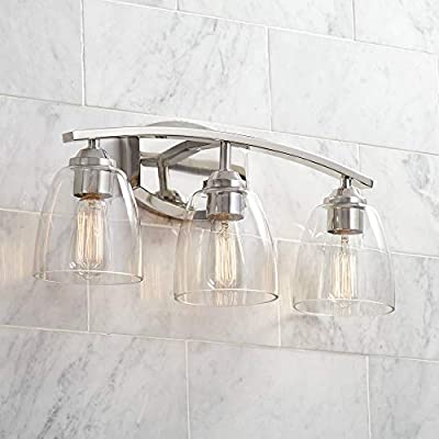 """Richter Modern Wall Light Polished Nickel Hardwired 22"""" Wide 3-Light Fixture Clear Glass for Bathroom Vanity - 360 Lighting"""