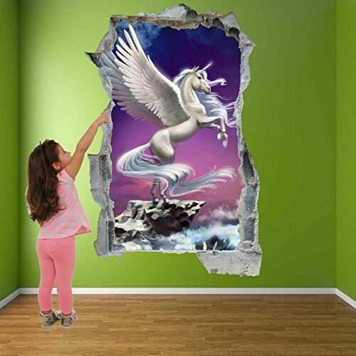 Pegatinas de pared Pegasus Pegasus pegatina de pared de cuento de hadas Mural calcomanía niños dormitorio decoración del hogar póster papel tapiz- 50×70cm