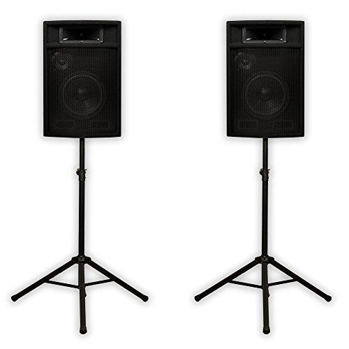 "Acoustic Audio PA-380X Passive 8"" DJ Speakers and Stands PA Karaoke 3-Way Studio Home Audio"