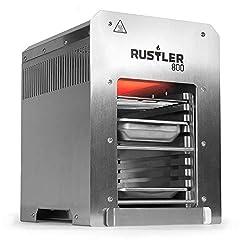 Rustler 800 Hochleistungsgrill inkl. Grillrost, Auffangschale und Warmhalteschale - Oberhitze Gasgrill aus Edelstahl für Temperaturen bis zu 800° C mit Piezozünder