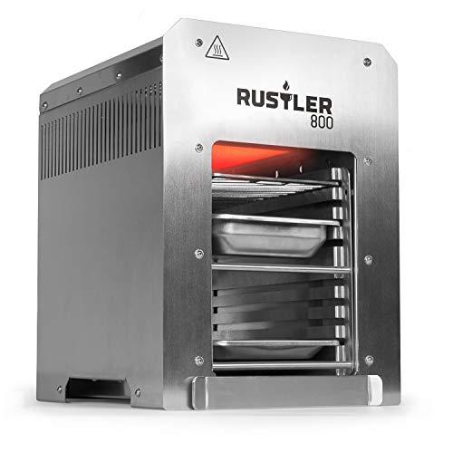 Rustler 800 Hochleistungsgrill - Oberhitze Gasgrill aus Edelstahl für Temperaturen bis zu 800° C mit Piezozünder - 800 Grad Grill - Inkl. Grillrost, Auffangschale und Warmhalteschale