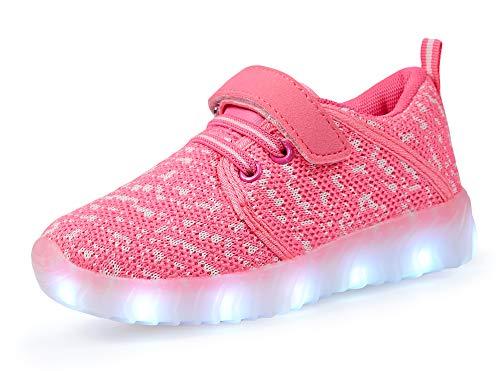 adituob Kinder LED Schuhe Damen Herren Leuchten Sportschuhe Unisex USB Lade Outdoor Leichtathletik Paare Schuhe Rosa27