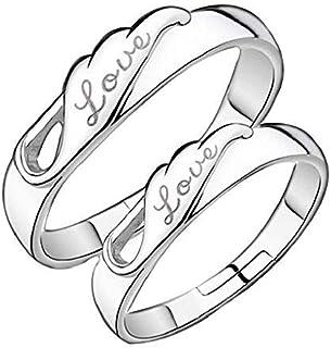 Legisdream Par de Anillos 2 de Plata con Grabado de Amor-Amor Joyas Ideas del Regalo para los Novios