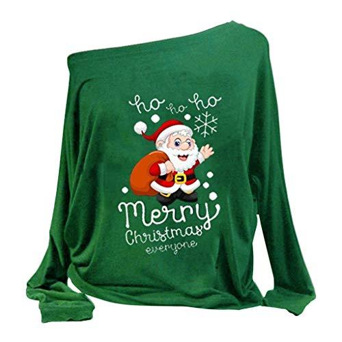Pull de Noel Femme Grande Taille Christmas Pullover Tops Hiver T-Shirt Femmes Imprimé Noël Sweat à Capuche Asymétrique Hauts à Manches Vêtements Femmes Pas Cher