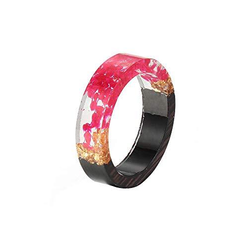 Hand aus Holz-Harz-Ring-Schmucksachen Blumen-Pflanzen-Innere Schmuck Neuheit Holz-Band-Ring für Männer Frauen (Type7 18.1mm)
