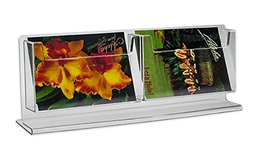 Source One 2 Pocket Counter Top Deluxe Clear Postcard Holder Stand Rack �