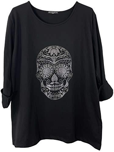 K-Milano Damen Sweatshirt Baumwolle Rundhals Longsleeve Totenkopf, Made in Italy