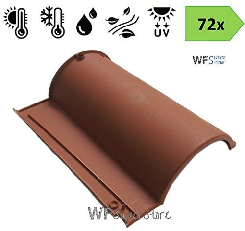 Tegola Portoghese in plastica color cotto - 72 pezzi - tegole tetto coppo terracotta (Escluse viti di sissaggio)