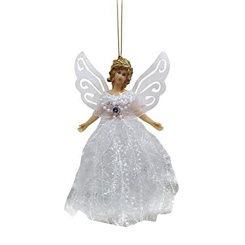 About1988 Engel für Weihnachtsbaumspitze Christbaumspitze Weihnachts-Deko-Figur, Motiv Engel, mit Flügeln aus Stoff, Weihnachten Engel Anhänger Weihnachtsengel Ornament Hängende Dekoration (Weiß)