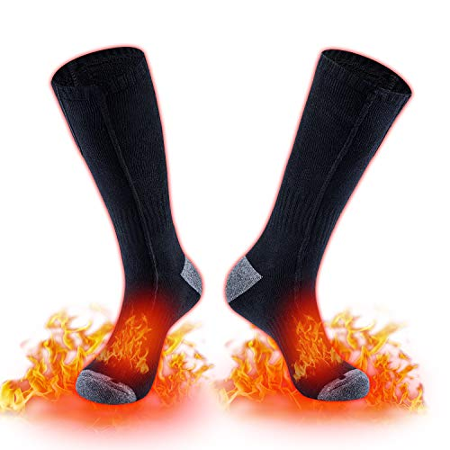 HOOCUCO Electric Heated Scoks Rechargeable Battery 3 Gear Heating Winter Thermal Sox Soft Warming Cotton Socks for Men and Women Foot Warmer Ski Hunting Camping Hiking Riding Motorcycle