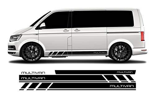 WRAP-SKIN Seitenstreifen Set MULTIVAN passend für VW T4 T5 T6 Seitenaufkleber Aufkleber WS-03-08-10013 070M Schwarz Matt