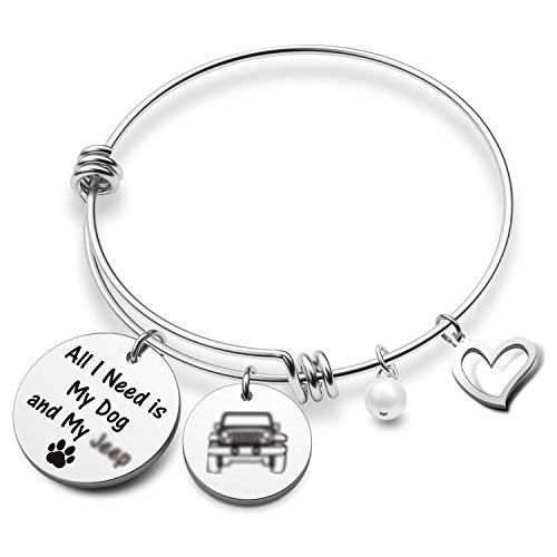 EIGSO - Pulsera para amantes de los perros, regalo All I Need is My Dog and My Jeep