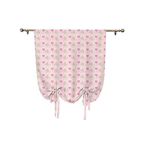 Cortina de cortinas para bebés, diseño de elefantes en tartán con corazones y lunares, diseño infantil, 95 x 150 cm, para cocina, dormitorio de niños, rosa verde pistacho
