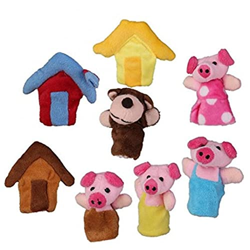 Zonster 8pcs Marionetas del Dedo, Felpa Animales Finger Puppets Set para Bebés a Los 3 Cerditos Family Story Muñeca
