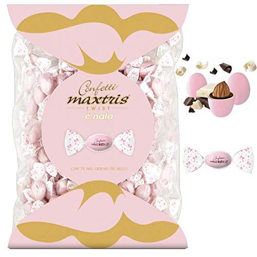 Confetti MAXTRIS TWIST incartati singolarmente a caramella gusto classico CIOCOMANDORLA ROSA 1 Kg. per Nascita, Battesimo, Comunione, Compleanno