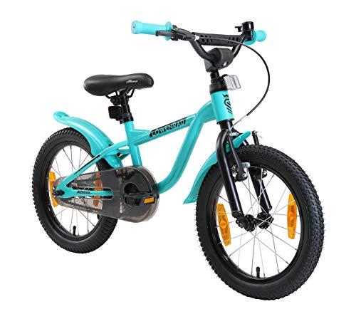 LÖWENRAD Kinderfahrrad für Jungen und Mädchen ab 4-5 Jahre | 16 Zoll Kinderrad mit Bremse | Fahrrad für Kinder | Mint