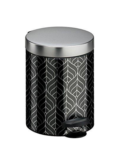 Meliconi Pattumiera a Pedale 5 lt, lamiera litografata Decoro Art Deco Argento e nero con Secchio in plastica, 18.6 x 18.6 x 24 cm. Made in Italy