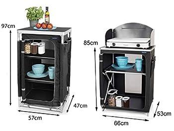 Lot de 2 - Cuisine de camping robuste et stable avec pare-vent pliable + armoire de camping résistante aux intempéries pliable.