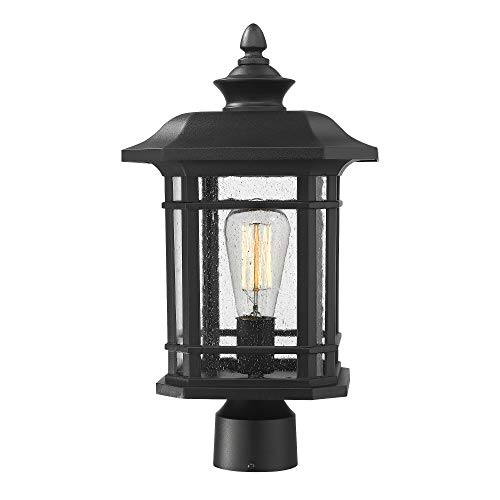Emliviar Outdoor Post Lighting Fixture 17 inch, 1-Light Exterior Post Light in Black Finish with Seeded Glass, A2202110P1