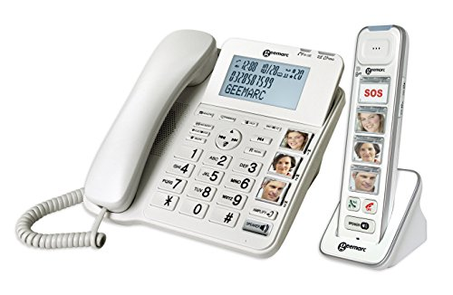 Geemarc AmpliDECT COMBI PHOTO 295 Combo Seniorentelefon schnurgebunden (+Anrufbeantworter+ ) und Zusatz-Dect-Telefon mit 4 Fototasten - Deutsche Version