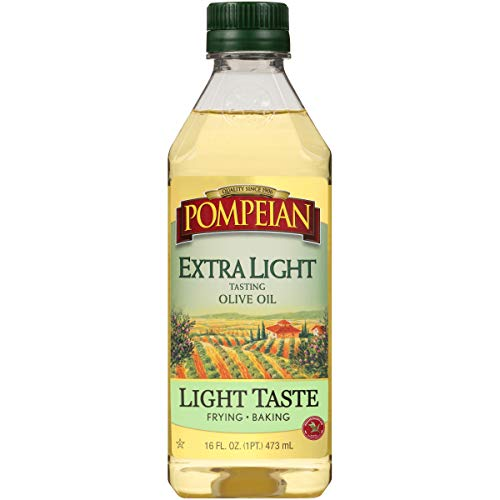 Pompeian Extra Light Tasting Olive Oil, Light and Subtle Flavor, Perfect for Frying and Baking, Naturally Gluten Free, Non-Allergenic, Non-GMO, 16 FL. OZ., Single Bottle