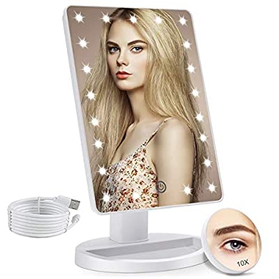 COSMIRROR Lighted Makeup Vanity Mirror with 10X Magnifying Mirror, 21 LED Lighted Mirror with Touch Sensor Dimming, 180°Adjustable Rotation, Dual Power Supply, Portable Cosmetic Mirror (White) by Cosmirror