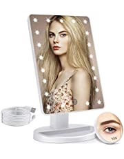 Lighted Makeup Mirror with 21 LED Lights, Makeup Vanity Mirror with Touch Screen Dimming, Detachable 10X Magnification Clarity Cosmetic Mirror USB or Battery Dual Power Supply