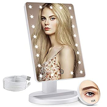 COSMIRROR Lighted Makeup Vanity Mirror with 10X Magnifying Mirror 21 LED Lighted Mirror with Touch Sensor Dimming 180°Adjustable Rotation Dual Power Supply Portable Cosmetic Mirror  White