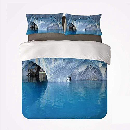 Qoqon Juego de Funda nórdica Juego de Cama Azul práctico de 3 Camas, Cueva de mármol Lago General Carrera en Chile Maravillas Naturales Rocas Agua Azul para Dormir